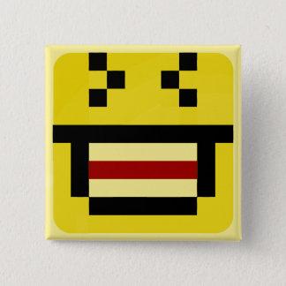 geregelde smiley grote lach vierkante button 5,1 cm