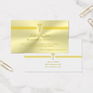 Geregistreerde Vroedvrouw met gouden caduceus logo Visitekaartjes