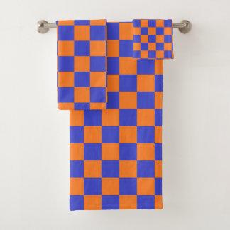 Geruite Blauw en Oranje Bad Handdoek