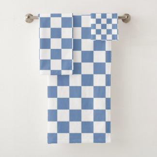 Geruite Blauw/Grijs en Wit Bad Handdoek