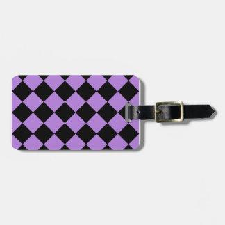 Geruite Diag - Zwarte en Lavendel Bagagelabel