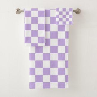 Geruite Lavendel en Wit Bad Handdoek