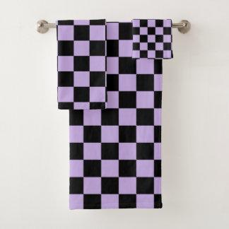 Geruite Lavendel en Zwarte Bad Handdoek