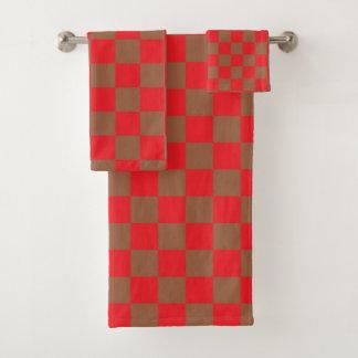 Geruite Rood en Bruin Bad Handdoek