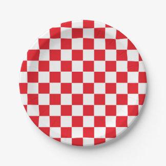 Geruite Rood en Wit Papieren Bordje