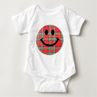 Geruite Schotse wollen stof Schotse Smiley Romper