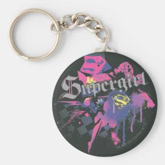 Geruite Supergirl ploetert Sleutelhanger