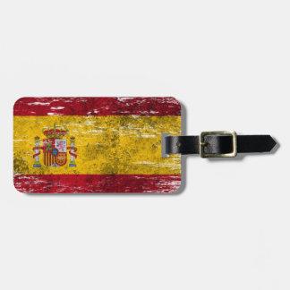 Geschaafde en Versleten Spaanse Vlag Bagagelabel