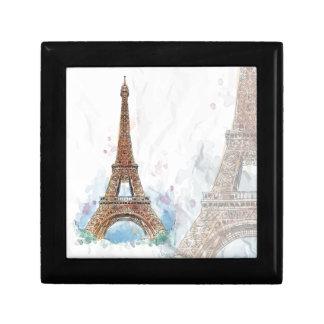 Geschetst gekleurd de torenParijs van Eiffel goed Decoratiedoosje