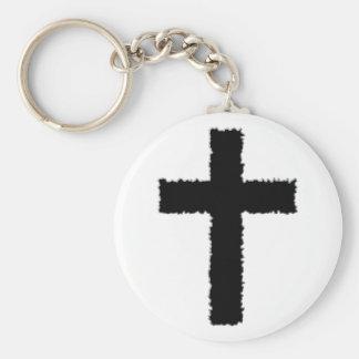 gescheurd kruis basic ronde button sleutelhanger