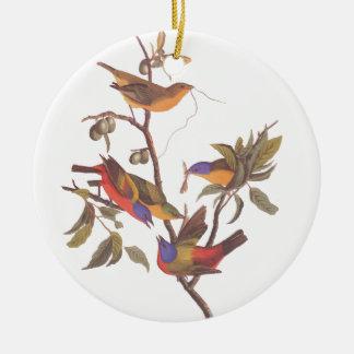 Geschilderde Bunting van Audubon Familie van Vijf Rond Keramisch Ornament