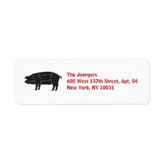 Gesegmenteerd BBQ Zwart Varken Etiket