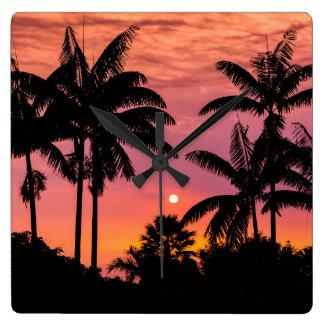 Gesilhouetteerde palmen, Hawaï Vierkante Klok