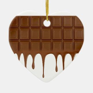 Gesmolten chocoladereep keramisch hart ornament