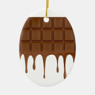 Gesmolten chocoladereep keramisch ovaal ornament