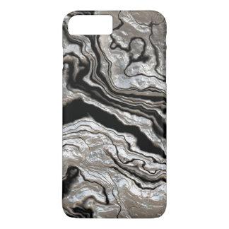 Gesmolten Zilveren Zwart Marmeren Patroon iPhone 8/7 Plus Hoesje