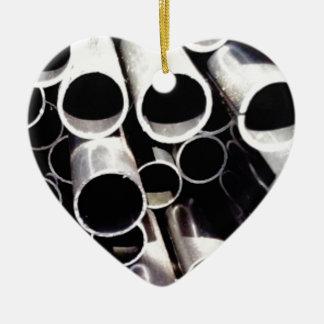 gestapelde cirkels van staal keramisch hart ornament