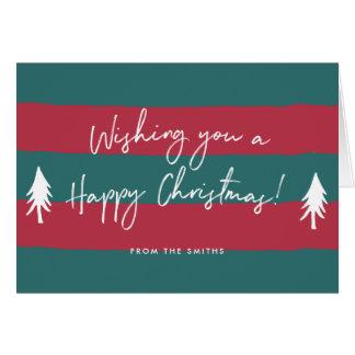 Gestreept Gelukkig Kerstmis Gepersonaliseerd Briefkaarten 0