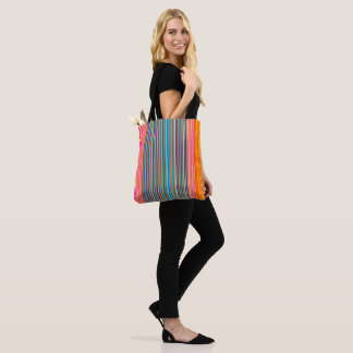 Gestreept Oranje/Roze /Aqua > Kleurrijk Canvas tas