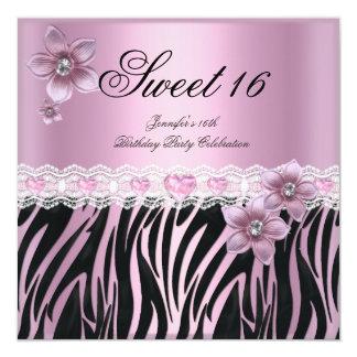 Gestreept Roze Zwart Snoepje Zestien Zoete PARTIJ 13,3x13,3 Vierkante Uitnodiging Kaart
