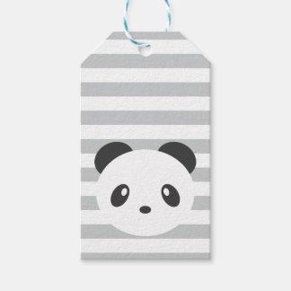 Gestreepte de giftlabels van de panda cadeaulabel