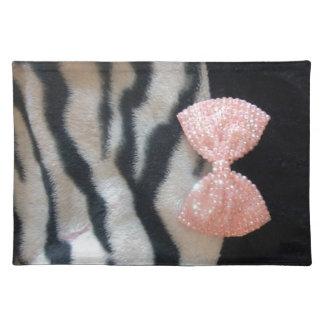 Gestreepte Druk mooie Girly & de Roze Boog van Placemat