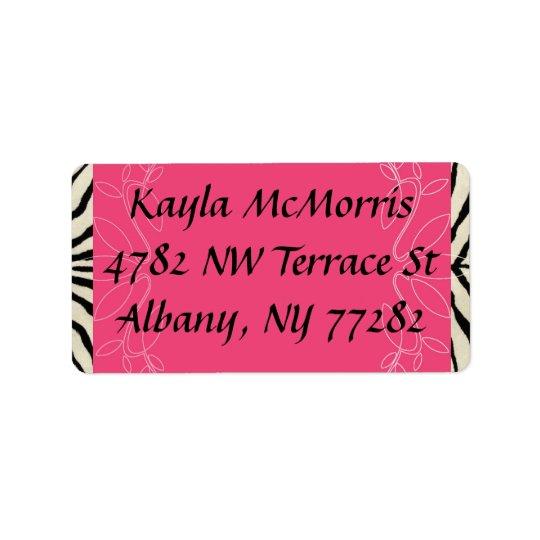 Gestreepte en roze sticker addressticker
