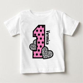 Gestreepte Harten van de Stippen van de Verjaardag Baby T Shirts
