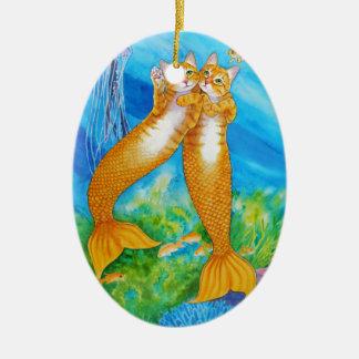 Gestreepte kat MerCats Keramisch Ovaal Ornament