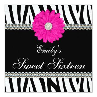 Gestreepte Roze Daisy Gems Sweet 16 Verjaardag 13,3x13,3 Vierkante Uitnodiging Kaart