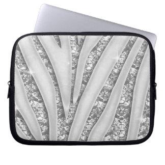 Gestreepte Strepen met Witte Diamanten Faux Laptop Sleeve