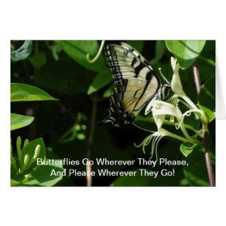 Gestreepte Swallowtail op Kamperfoelie Kaart