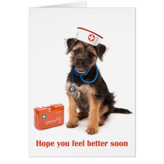 Get well card of Dog with nurse outfit Briefkaarten 0