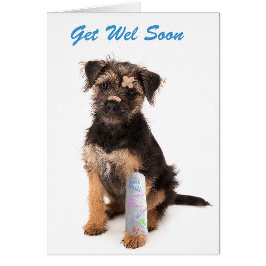 Get well soon card Border Terrier dog Kaart