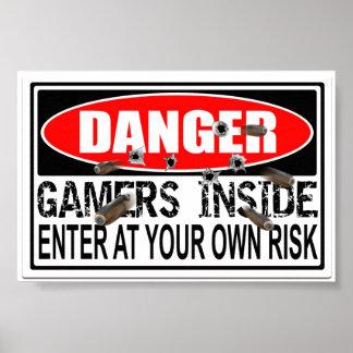 Gevaar Gamers binnen Poster