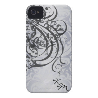 Geval van het Monogram van vintage Rococo's het Zw iPhone 4 Case-Mate Hoesjes