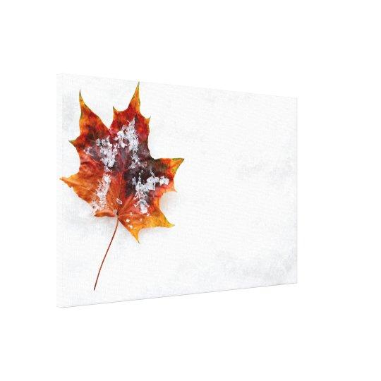 Gevallen Blad in het Sneeuw Verpakte Canvas