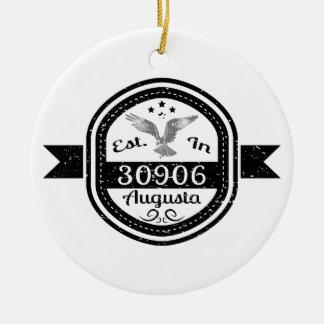 Gevestigd in 30906 Augusta Rond Keramisch Ornament