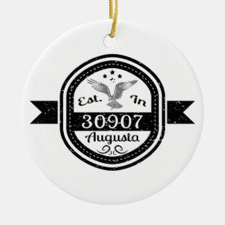 Gevestigd in 30907 Augusta Rond Keramisch Ornament