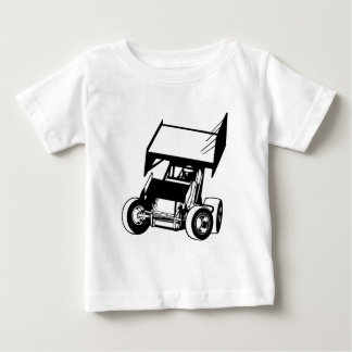 Gevleugelde sprintauto baby t shirts