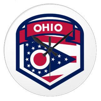 Gevormd CREST van de Vlag van de Staat van Ohio Ronde Klok Large