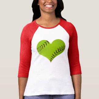 Gevormd raglan van het softball Hart overhemd T Shirt