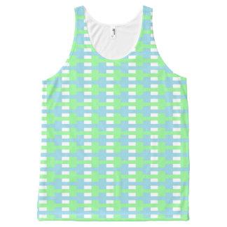 Gevormde Groene Munt, het Blauw van de Pastelkleur All-Over-Print Tank Top