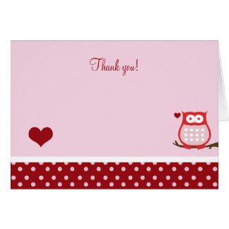 Gevouwen de Uil van de Valentijnsdag dankt u nota Kaart