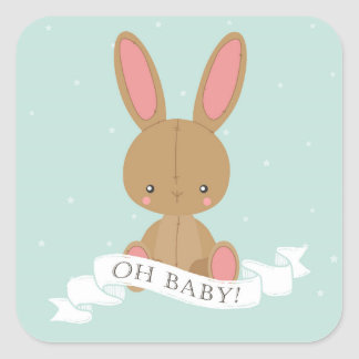 Gevuld Oh van het Konijn van het Konijntje Baby! Vierkante Sticker