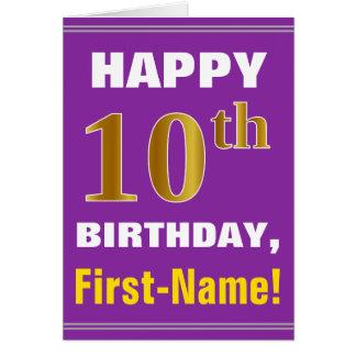 Gewaagd, Paars, Gouden 10de Verjaardag Faux met de Kaart