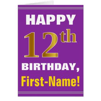 Gewaagd, Paars, Gouden 12de Verjaardag Faux met de Briefkaarten 0