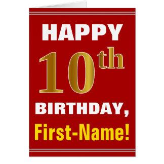 Gewaagd, Rood, Gouden 10de Verjaardag Faux met de Briefkaarten 0