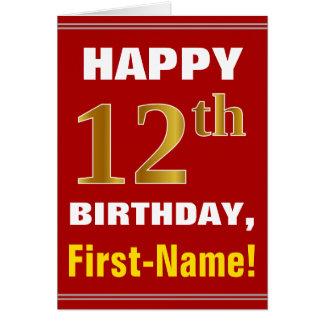 Gewaagd, Rood, Gouden 12de Verjaardag Faux met de Briefkaarten 0