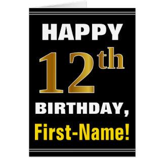 Gewaagd, Zwart, Gouden 12de Verjaardag Faux met de Kaart